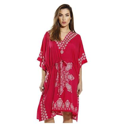red medallion print short kaftan dress
