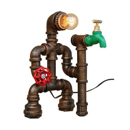 rusted pipe steampunk man table lamp
