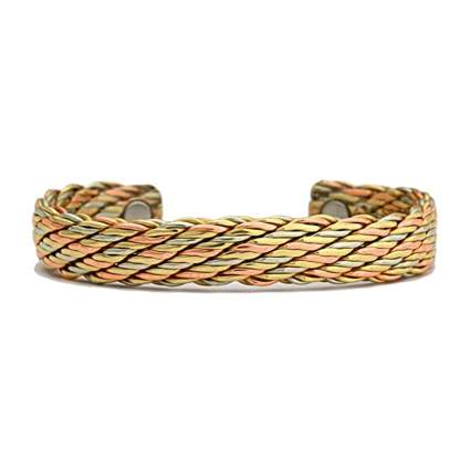 woven copper magnetic therapy bracelet