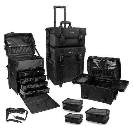 Black makeup rolling case
