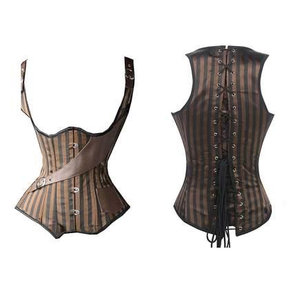 brown striped cinching underbust steampunk corset