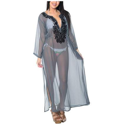 sheer gray embroidered beach kaftan