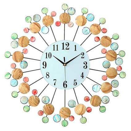 multicolor shell decoration starburst wall clock