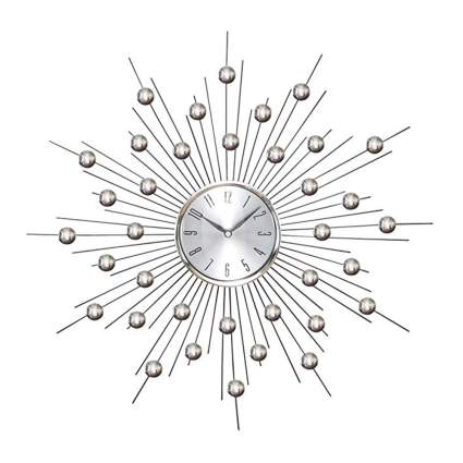 metallic starburst wall clock with