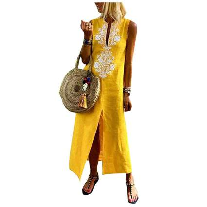 yellow linen sleeveless kaftan