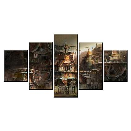 steampunk city canvas print set