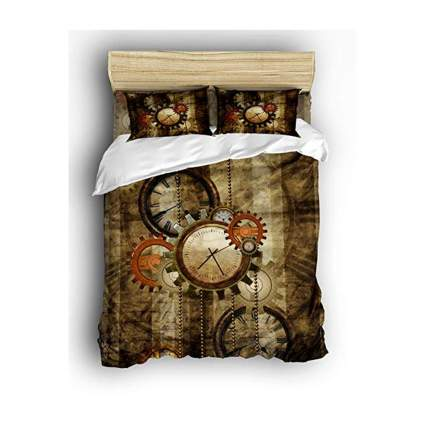 brown steampunk clocks and greats duvet set