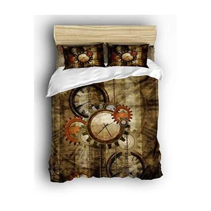 brown steampunk clocks and greats duvet set