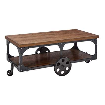 wood steampunk coffee table with caster wheels