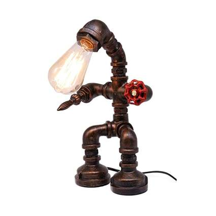 rusted iron pipe steampunk desk lamp