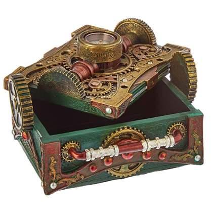 green steampunk trinket box