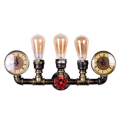 three light water pipe wall sconce