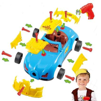 Take Apart Toy Racing Car Kit For Kids with Electric Toy Drill