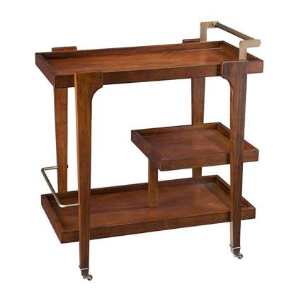 three tiered wooden bar cart with brass handle