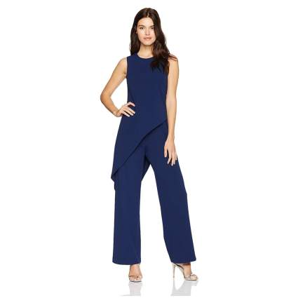 Adrianna Papell Women's Knit Crepe Asymmetrical Jumpsuit