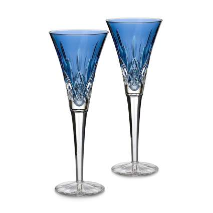 Waterford Crystal Lismore Sapphire Flute Pair