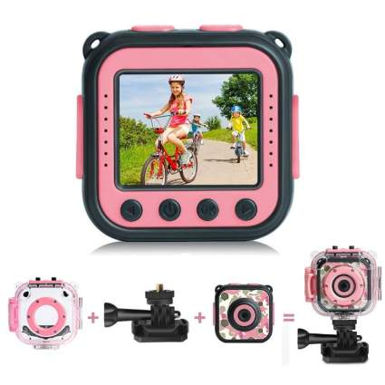 [Upgraded] PROGRACE Kids Waterproof Camera Action Video Digital Camera 1080 HD Camcorder for Girls Toys