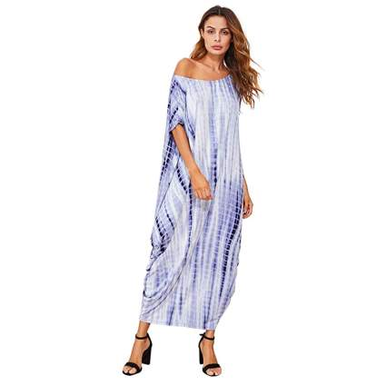 blue and white off shoulder kaftan