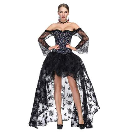 black print victorian off the shoulder corset and lace skirt