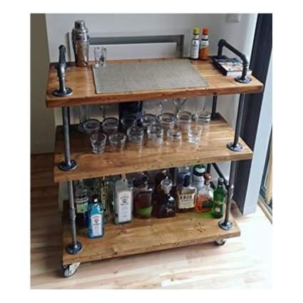 wood and metal pipe bar cart
