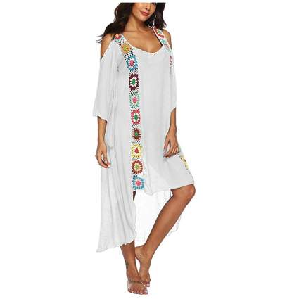 white and crochet cold shoulder kaftan