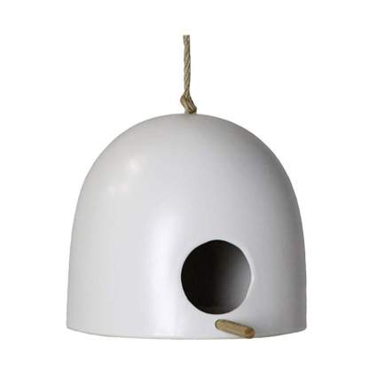 white ceramic mid century bird house