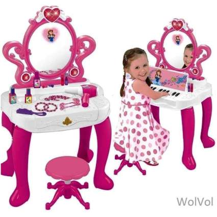 WolVol 2-in-1 Vanity Set Girls Toy Makeup Accessories with Working Piano & Flashing Lights