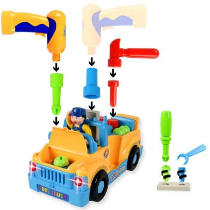 WolVol Truck Tools Toy Equipped with Electric Drill and Various Tools