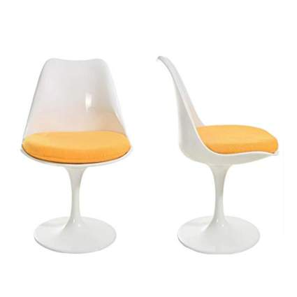 yellow and white tulip side chair