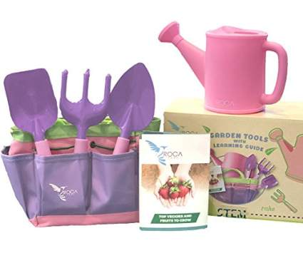 Kids Pink Garden Tools with STEM Learning Guide