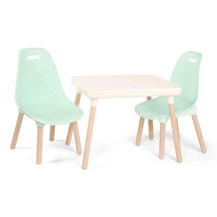 1 Craft Table & 2 Kids Chairs with Natural Wooden Legs