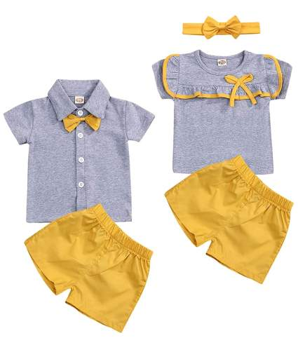 Twin Boy & Girl Matching Outfits