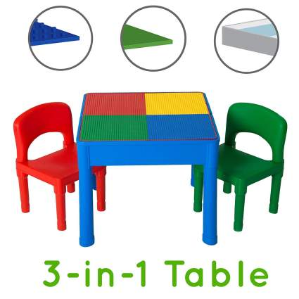 Play Platoon Kids Activity Table Set - 3 in 1 Water Table, Craft Table and Building Brick Table with Storage
