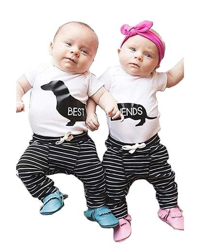 Girl Boy Best Friends Short Sleeve Romper+Striped Pants Summer Outfits Clothes