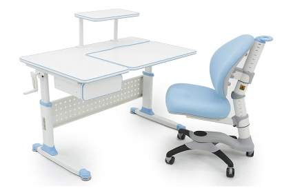 Blue and white child's desk and chair