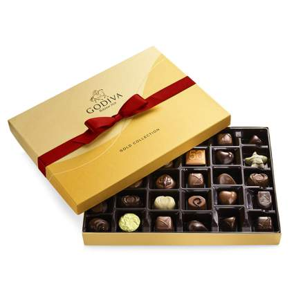 Gold box of Godiva chocolates