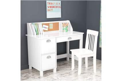 White wooden study desk for kids