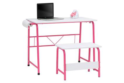 Pink and white activity desk