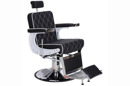 Black quilted salon chair for men