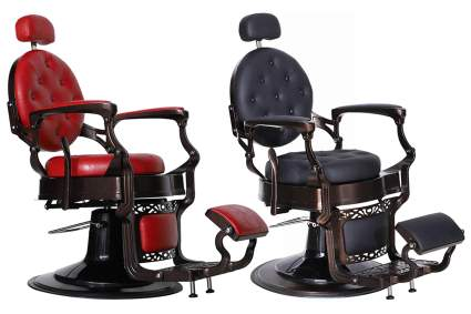 Red and black vintage salon chairs for men
