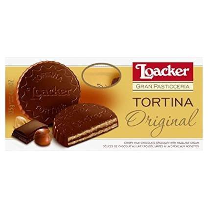 Gold package of Loacker chocolate