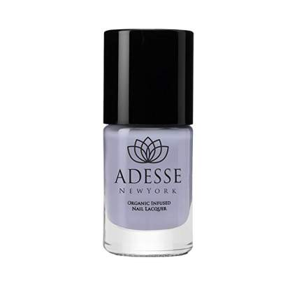 Periwinkle nail polish with black top