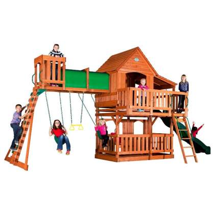 Backyard Discovery Woodridge II All Cedar Wood Playset Swing Set