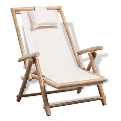 bamboo folding chaise lounge chair
