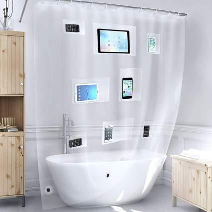 Better Than Bubbles Tech Friendly Clear Shower Curtain Liner with Pockets Weird Gadgets