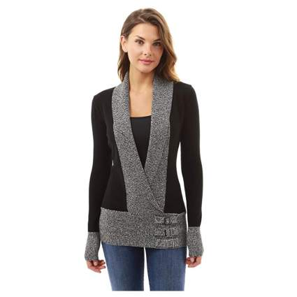 gray and black long sleeve sweater with buckles