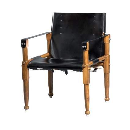 black leather safari chair