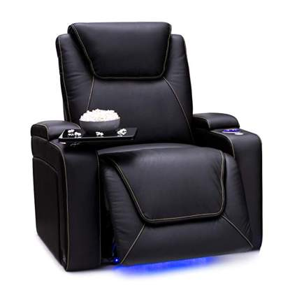 black leather power recliner with tray table