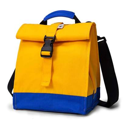 yellow and blue roll top insulated lunch bag