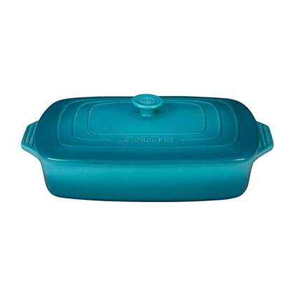 blue rectangular covered casserole dish